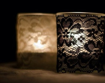 Set of 25 Black Vintage lace votive candle slip covers