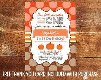 Pumpkin First Birthday Invitation - Fall First Birthday Party Invite - Pumpkin Birthday Printable - Girl First Birthday - Boy First Birthday