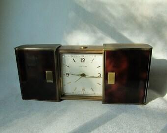 Art Deco Swiss Sliding Case Clock, Estyma Travel Clock, Faux Tortoiseshell Enamel and Brass, Circa 1930