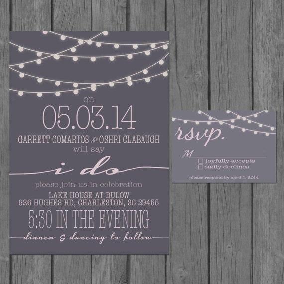 Simple Wedding Invitation Wording: Simple Wedding Invitation Modern Strings Of Lights