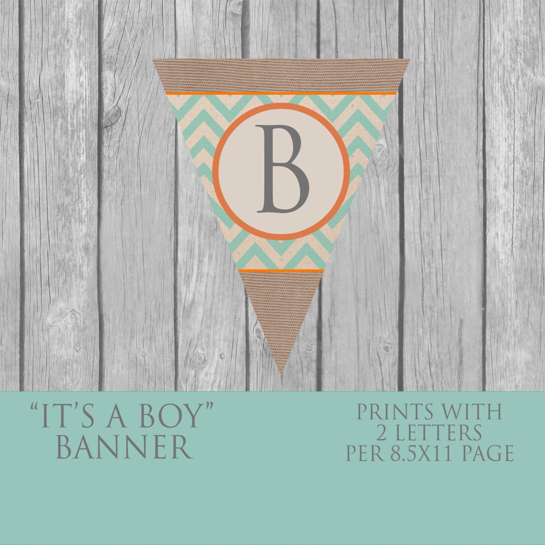 DIY Boy Baby Shower Banner Vintage INSTANT DOWNLOAD Teal