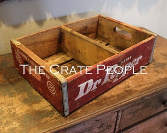 Vintage dr pepper wood soda crate w divider hundreds for Wooden soda crate ideas