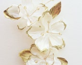 Bridal flower headpiece ivory/gold or ivory/silver, wedding flower hair clip, bridal flower headpiece, gold flower clip, silver flower clip