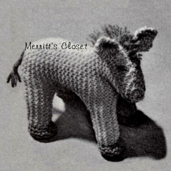 items similar to horse toy vintage knitting pattern