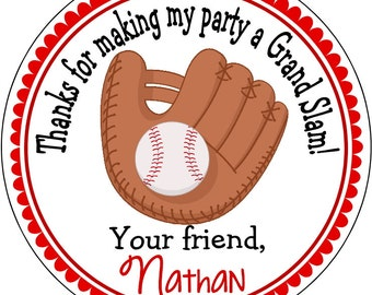 Baseball Glove Birthday Labels, Address Labels, Stickers for Party Favor Bags and Gift Tags