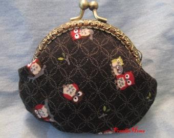 Handmade Owl Print Black Kiss Lock Coin Purse Coins Bag Small Pouch (8.5cm)