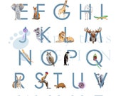 Animal Alphabet Art - Alphabet Wall Art - Little Boy's Room - ABC Art - Blue - Animal Alphabet Print -  Alphabet Art - 11 x 14 - TinyToesDesign