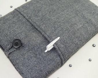 """Gray Herringbone Wool Laptop Sleeve 13"""" MacBook Case Padded MacBook Pro Sleeve, MacBook Computer Cover"""