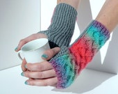 Hand Warmers in Parrotfish Design, hand knit and cabled fingerless gloves