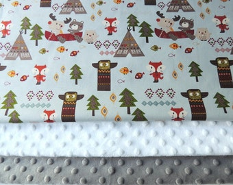 Baby Blanket - Made to Order - Forest Animal Minky Blanket - Baby Bedding - Woodland Baby Blanket - Forest Animals - Cot Blanket - Fox Baby