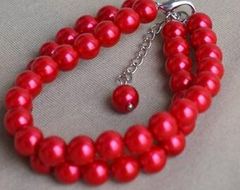 red pearl bracelet,2 rows pearl bracelet, pearl bracelet,wedding jewelry,bridesmaid Jewelry,pearl jewelry,wedding party