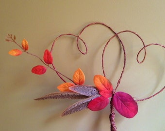 Pheasant Feather Cake Topper, Rustic Fall Wedding, Leaf Cake Topper, Hunting Cake Topper,