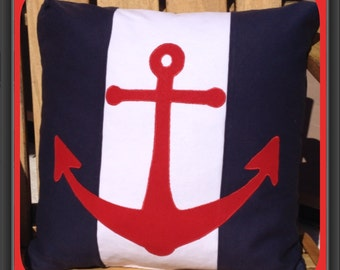Nautical Anchor Red Anchor and Navy Pillow Cover - Machine Appliqued