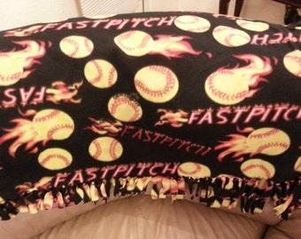 HUGE knotted softball fastpitch fleece blanket