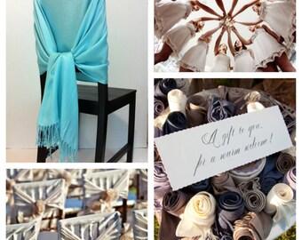 any 6 pashmina, 6 colored pashmina scarf, pashmina shawls, wedding shawls, pashmina wrap, bridesmaid shawls, wedding favors, chair covers