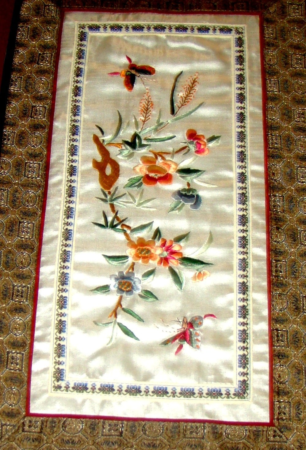 Authentic Exquisite Vintage Chinese Art Silk Art Silk Tapestry