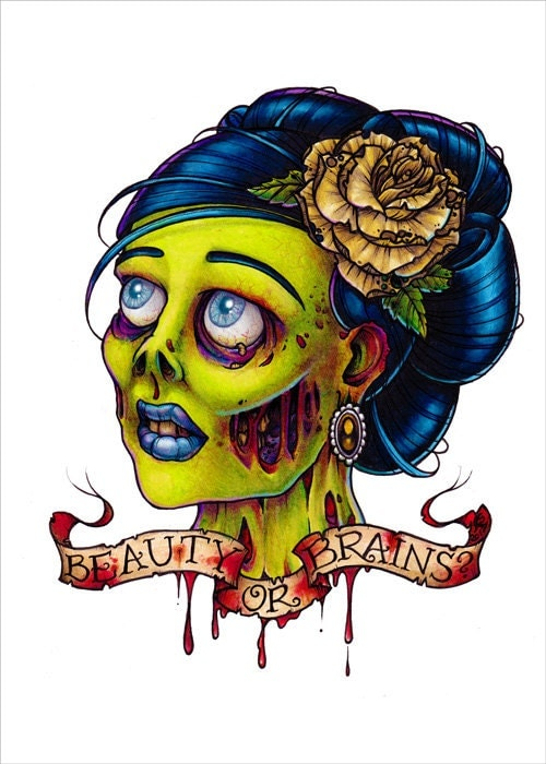 Beauty or brains zombie pin up tattoo flash art print by for Pin up tattoo flash