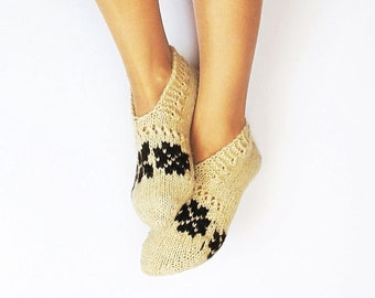 Wool Slippers, Knitted Natural Wool slippers, HandKnit Warm Wool Slippers, Knitted Leg warmers, Knited slippers for winter, Second skin