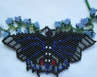 Vintage Beaded Butterfly Necklace