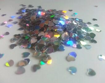 solvent-resistant glitter shapes-silver hologram hearts