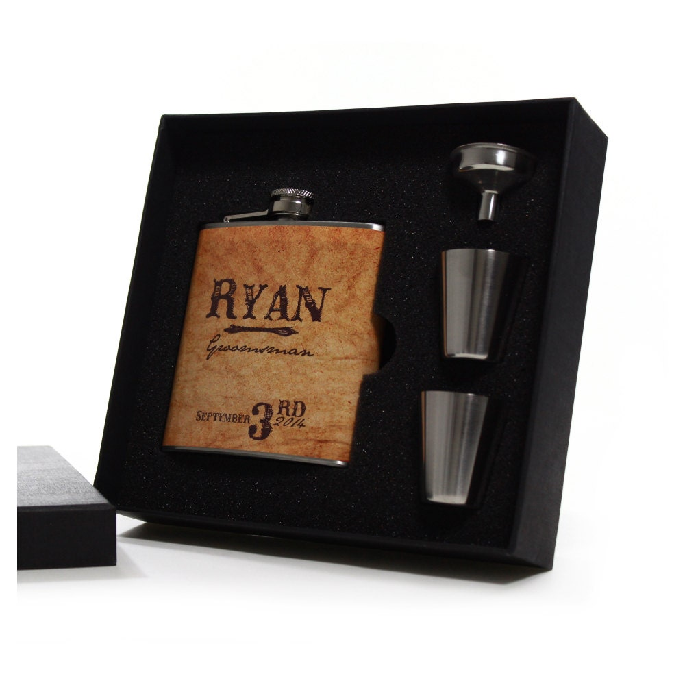 Groomsmen Wedding Gift: Country Wedding 8 Groomsmen Gift Flask Sets Personalized