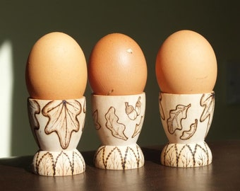 Egg Cups, set of 3 with Leaf, Berry & Acorn design - housewarming gift, birthday gift