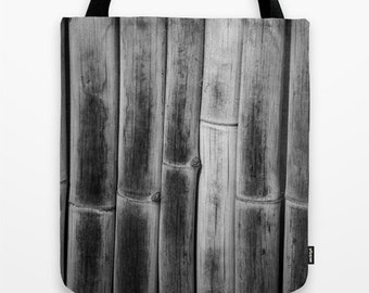 Tote Bag Linear, Bamboo Fence Photo, Use as Market, Shopping, Beach, or Gift