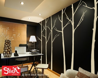 Tree Wall Decal, Forest Trees Wall Sticker, Forest Wall Decal, Living Room Decal, Winter Trees Decal