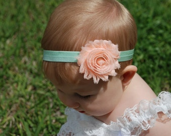 Easter Headband, Peach and mint green headband, toddler headband, baby headband, flower headband, shabby headband, hair bow