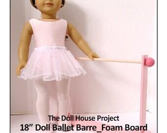 "American Girl _ 18 inch Doll House BALLET BARRE + Costume Cart 18"" Doll Furniture Pattern Foam Board Bonus How-To Guide Digital Download PDF"