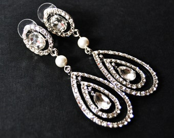 Crystal Drop Rhinestone Earrings, Rhinestone Drop Earrings, Wedding Earrings, Pearl Drop Earrings