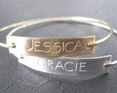 Gold and Silver Hand Stamped Name Bracelet, Personalized Gold Bangle, Gold Jewelry, Silver Name Bangle, Silver Jewelry