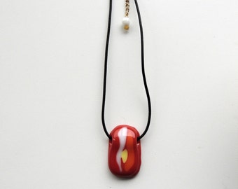 fused glass necklace,red yellow white pendant necklace,  red fused necklace, gift for her,red fused glass pendant,fused red necklace