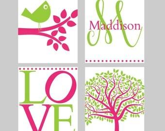 BIRD NURSERY ART - Pink Green  Nursery - Girls Nursery - Custom Nursery Art - Personalized Nursery Decor  - 8x10 print set