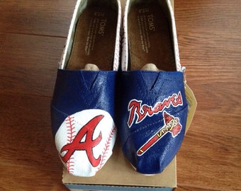 Hand Painted Atlanta Braves Toms- NOTE: Personalized to any design, college, or character(s) you want