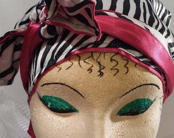 Zebra print, Hot Pink head scarf