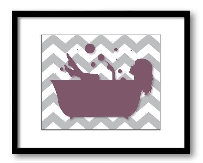 Bathroom decor bathroom print plum purple grey gray girl with for Purple and grey bathroom ideas