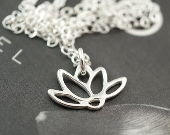 Lotus jewelry for bridesmaids, gift set of 8, mini charm jewelry, destination wedding, lotus necklace, bridesmaid gift