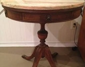 Beautiful Antique Rustic Style Pink Marble Top Drum Table - - Two Drawer - - Lion Hardware - - Claw Feet - -  Sturdy !