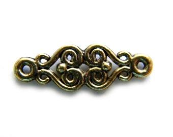 5 Antique Gold Scroll Connectors