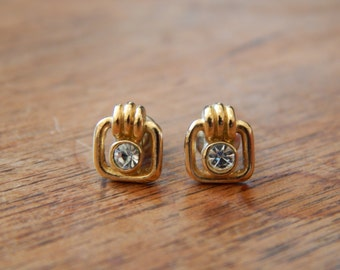 Square Gold Colour Glass Centre Stud Earrings 1970s/80s