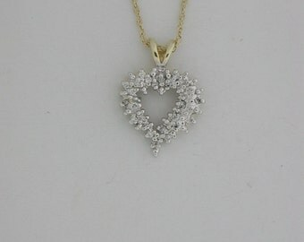 Genuine Diamond Heart Pendant 14KT Yellow Gold