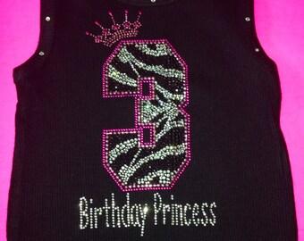 Zebra Birthday Number Crystal Rhinestone Bling Shirt. Personalized Birthday Number Shirt. Girl's Birthday Number T-shirt. Pink, black, white