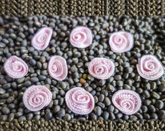 Miniature Pink Coiled Ribbon Roses