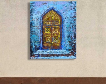Into the Mystical Doors Original Painting Acrylic Palette Knife 22 x 28 inches Mixed Media Texture by Lemuria Art