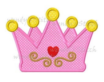 Princess crown applique machine embroidery digital design