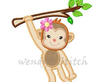 Hanging girl monkey applique machine embroidery design