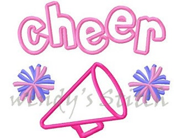 Cheer cheerleader pom pom applique machine embroidery design