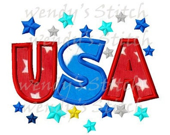 USA stars applique machine embroidery design digital pattern instant download