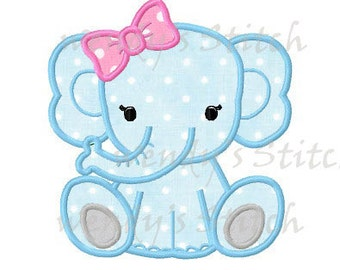 Baby girl elephant applique machine embrodery design digital pattern